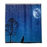 CPYang Duschvorhänge Fantasy Galaxy Stern Mond Wolf Wasserdicht Schimmelresistent Badvorhang Badezimmer Home Decor 168 x 182 cm mit 12 Haken