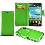 (Green) LG Optimus L4 II E440 Caso fino estupendo Faux Leather succión Pad Monedero piel de la cubierta con el crédito / débito ranuras para tarjetasBy ONX3
