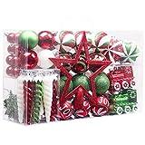 Valery Madelyn Weihnachtskugeln 100 TLG 3-20cm Kunststoff Christbaumkugeln zur Weihnachtsdekoration mit Weihnachtsbaumspitze und Aufhänger Klassische Serie Thema Rot Grün Weiß MEHRWEG Verpackung