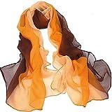 Sciarpa - TOOGOO(R) Gradiente di colore Wrap donna scialle di seta chiffon delle sciarpe della sciarpa(Marrone al arancio)