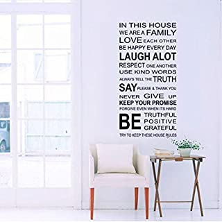 Oyedens Family Rules Words Removable Vinyl Decal Art Mural Home Decor Quote Wall Sticker
