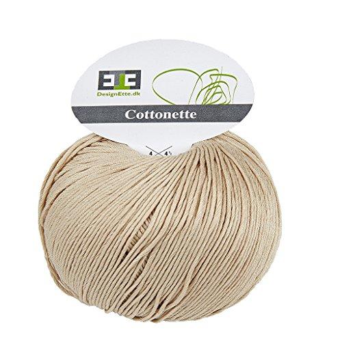 Designette Dänemark, 205, m, 100 g, 100 Prozent merscerizierte ägyptische Baumwolle-Garn mit bei 60 Grad waschen, Cottonette 049, champagner (Ägyptische Champagner Baumwolle)