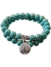 Young & Forever Natural Turquoise Stone With Life Of Tree Charm Bracelet For Unisex