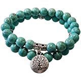 Young & Forever Wardrobe Refresh Fashion Sale Special D'vine Natural Turquoise Stone with Life of Tree Charm Bracelet for Men/Womens/Boys/Girl B778