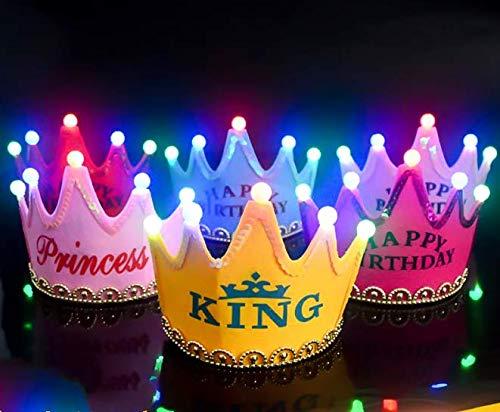 Gwill 5 Stücke Mode Kind Erwachsene Krone Neugeborenen Stirnband Gold LED Beleuchten Licht Geburtstag Party Krone Happy Birthday Hut Haarschmuck