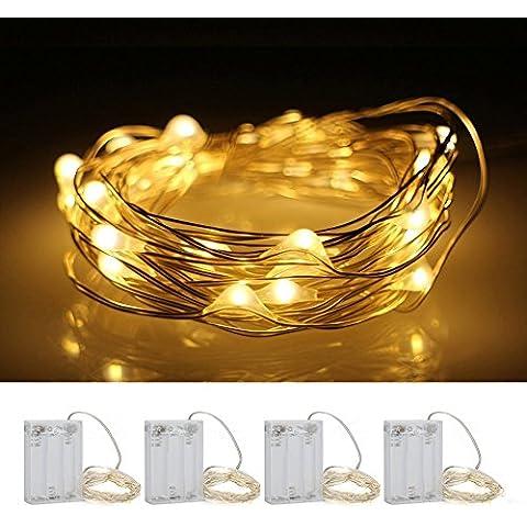 [4 Packs] HanLuckyStars 2M 20 LED Luces de Cadena de Cable Cobre Impermeable Guirnaldas de Cable Cobre, Decoración para Navidad Boda Fiesta Terreza Jardín Halloween Exterior