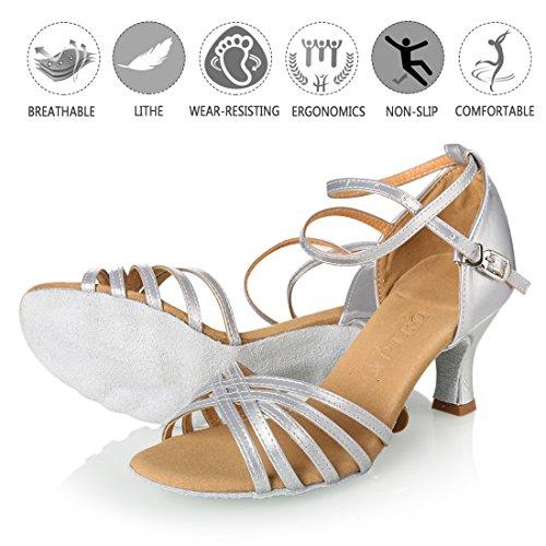 APTRO Damen Ballsaal Latin Tanzen Silber Sandalen 38.5(Asia 40) - 5