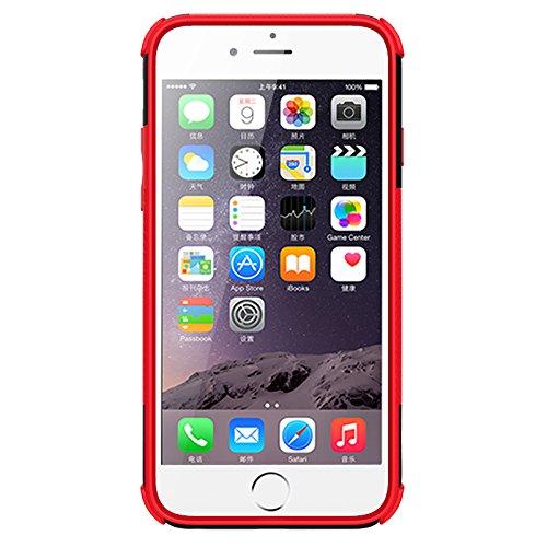 NEWSTARS Coque de protection en plastique double couche avec support Motif pneu Bonne prise Pour Apple iPhone 66S 11,9cm + 1protection d'écran en verre trempé + 1stylet Rose bleu