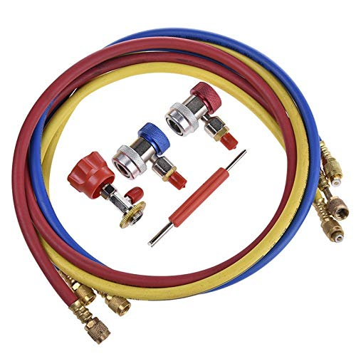 TOOGOO 1pc Metal R134a Tuyau de Mesure de Recharge Pression Jauge Voiture Adaptateur Refrigerant de climatisation Tuyau de Charge 300mm