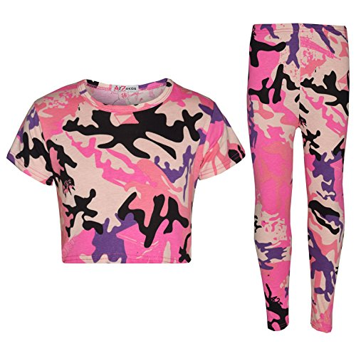 Camo Crop (A2Z 4 Kinder Mädchen Top Kinder Designer's TarnungAufdruck Satz - A2Z Camo Crop Top & Legging - Baby Pink - 11-12 Jahre)