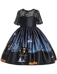 Yaohxu Vestido Costuras de Encaje Ropa con diseño de impresión de Calabaza para Cosplay/Halloween/Fiesta Vestido Princesa Tutu Disfraces para niñas/Chicas