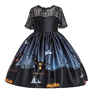 MAYOGO Vestido de Formal Niña Manga Corta 5 Años Disfraz Halloween Vestido Niña Encaje Estampado Pumpkin Ropa Bebe Fiesta Ceremonia Traje de bebé niña 2-9 Años 5