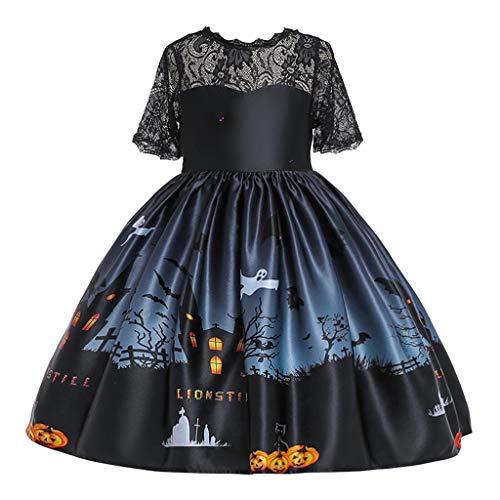 ToDIDAF Halloween Kostüm 24M-9T Kind Halloween Kürbis Karikatur gedruckt Spitze Prinzessin Tutu Kleid Rock für Halloween Party Festival Karneval Parade Schwarz 130