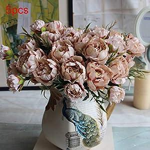 REDAPP Mini peonía Conjunto de Flores Artificiales de Cinco Colores decoración de Interiores para el hogar de la Boda…