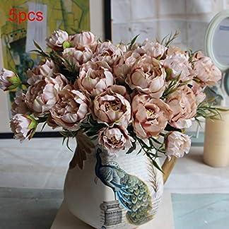 REDAPP Mini peonía Conjunto de Flores Artificiales de Cinco Colores decoración de Interiores para el hogar de la Boda Coffee