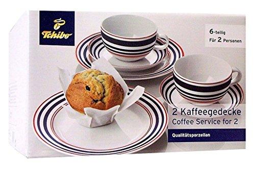 TCM Tchibo 2 Kaffee Gedecke , Qualitäts-Porzellan , 6 tlg. , Weiß mit blau-roten Streifen