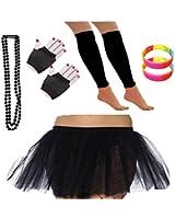 REDSTAR FANCY DRESS® Neon Tutu Skirt Leg Warmers Short Fishnet Gloves Necklace Beads and 2x FREE Neon Wrist Bands