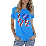 Womens Summer Cute Cat & National Flag Printed Tops, Kanpola Ladies Short Sleeve T-Shirt Blouse Newest Fashion Lovely Tee Shirts For Independence Day