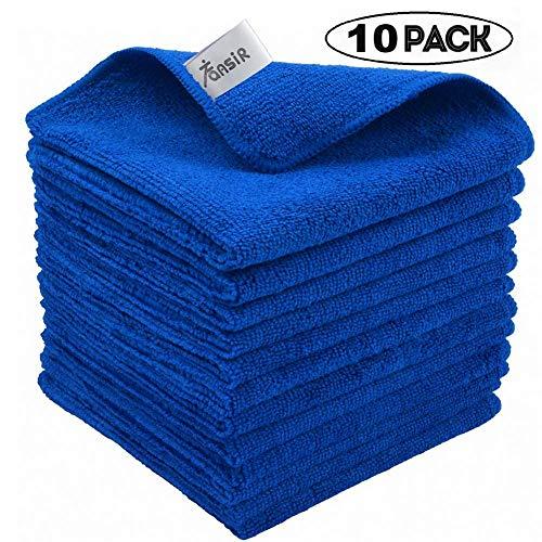 FANSIR Mikrofaser-Reinigungstücher, Fusselfreies Superweiches Tuch zum Polieren Waschen, Wachsen, Abstauben, Reinigen von Zubehör, Maschinenwaschbare Dicke Handtücher, 10 Stück (Blau)