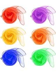 IDEALEBEN Petit Echarpe Foulard de danse pour enfant 6 couleurs 60cm x 60cm Lot de 12 pièces