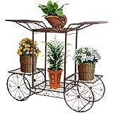 Étagère de Pots de Fleurs Plantes Chariot avec 6 Corbeilles en Métal Fer Forge pour Décoration Maison Balcon Terrasse Jardin Entrée -Dazone®-Bronze