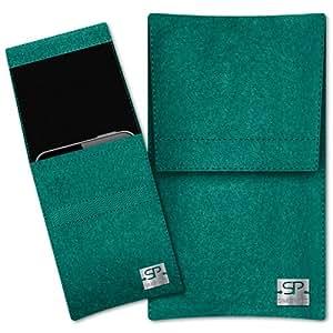SIMON PIKE Hülle Handytasche Sidney 1 smaragd für Apple iPhone 5S 5C 5 aus Filz
