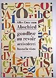 A4 XXL Abschiedskarte mehrsprachig Alles Gute mit bunter Schrift