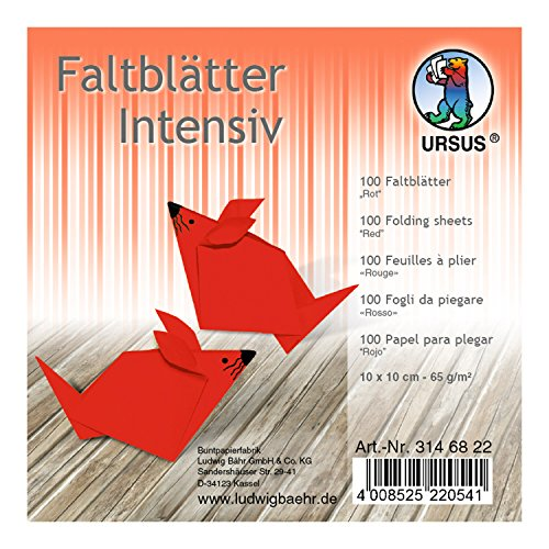 Ursus 3146822 - Faltblätter, 10 x 10 cm, 100 Blatt, rot