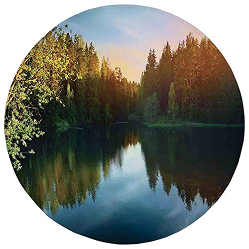 Round Rug Mat Carpet,Lake House Decor,Modern Photo of Lake and Forest Landscape in Northern Island with Realistic Color Art,Green Blue,Flannel Microfiber Non-slip Soft Absorbent,for Kitchen Floor ()