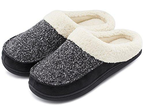 d57b5381d9b Women s and Men s Comfort Memory Foam Slippers Fuzzy Wool Plush Slip-on  Clog House Shoes