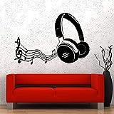 yiyiyaya Notes de Musique Écouteurs Wall Art Sticker Home Decor Salon Amovible PVC Sticker Mural pour Chambre d'enfants Stickers Muraux Gris 57X37 cm