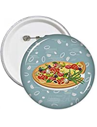 DIYthinker Regalo botón Onion Pizza Italia tomate Alimentos pernos redondos Placa Ropa decoración 5pcs ...