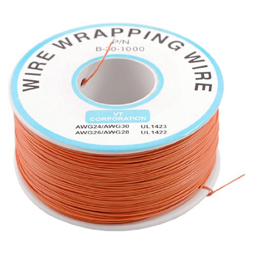 PCB Solder orange Flexible 0,5mm Außen Dia 30AWG Draht Verpackung Wrap 1000ft (Jig Wrap)