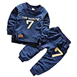 AP Boutique Baby Boy Girl Clothing Set Navy Blue Dress Long Sleeves Tshirt Tracksuit Number 7 Print clothes (18-24 Months)