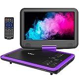 ieGeek 11.5' Reproductor de DVD portátil con Pantalla giratoria DE 9.5', Batería Recargable de 5 Horas, Soporte USB/Tarjeta SD, Reproducción Directa de AVI/RMVB/MP3/JPEG, Púrpura