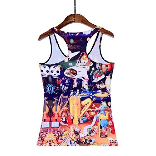 JTC Femme Débardeur Imprimé Veste T-shirt Tops de Sport Sans Manche Gilet D'été Coloré Taille Unique fête