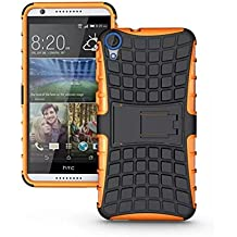 HTC Desire 820 Funda - Litastore TPU + PC Heavy Duty Antichoc Impact Robuste Armure Hybride Béquille sac Protecteur Housse pour HTC Desire 820 - Naranja