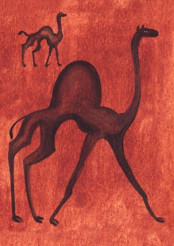 Hand Painted Dessert (Desert Camel - Blank or General, Occasional, Birthday Greeting Card.)