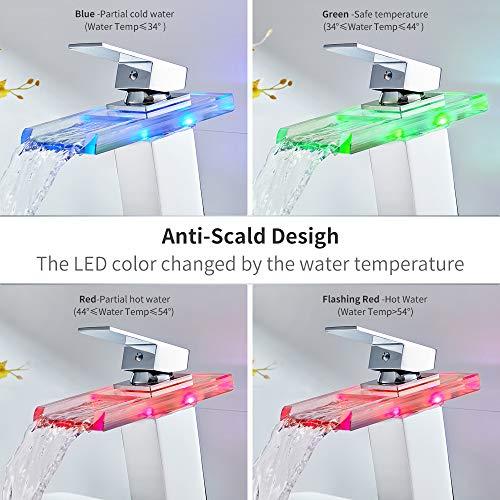 Auralum Glas Wasserhahn Waschbecken Armatur Waschtischarmatur LED RGB Licht und Modell Wählbar (Type B, mit LED RGB Licht) - 6