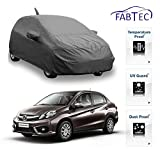 Fabtec Premium Quality Full Sized Triple Stiched Car Body Cover With Mirror & Antenna Pocket, Buckle Lock & Storage Bag For Honda Amaze