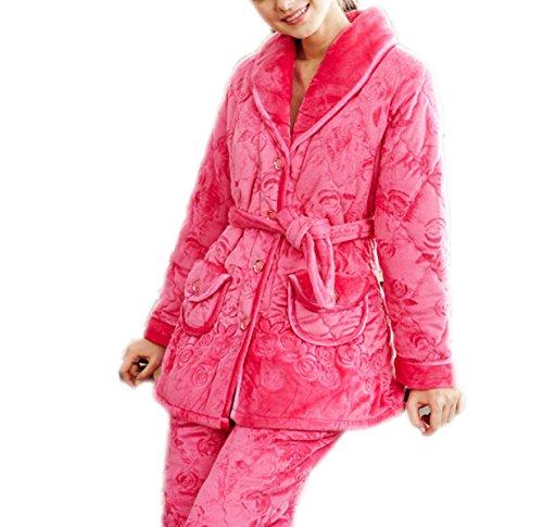 QPALZM Le Donne Ispessiscono Il Cotone Nuovo Autunno E Inverno Maniche Lunghe Pigiami Casa Servizio Giacca Cardigan Vestito Ispessimento Caldo 5