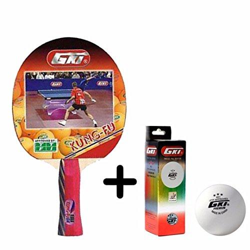 GKI Kung Fu Table Tennis Combo Set (GKI Kung Fu Table Tennis Racquet + GKI Premium 3 Star 40 Table Tennis Ball, Box of 3 - White)  available at amazon for Rs.1225