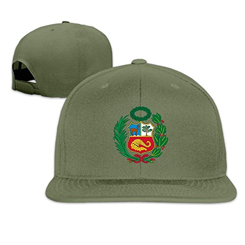lijied Unisex Adult Peru Flag Plain Adjustable Snapback Hip Hop Baseball Cap Black