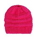 PanDaDa Cappelli e Cappellini, Caldo Berretto Foderato Berretto Invernale Beanie Design in Maglia Grezza,Berretto per Coda di Cavallo (Rosa Rossa)