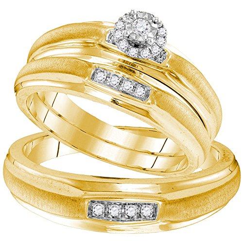 Verlobungsring für Sie und Ihn, Sterling-Silber 925, mit rundem Diamant-Solitär, 1/6 Karat