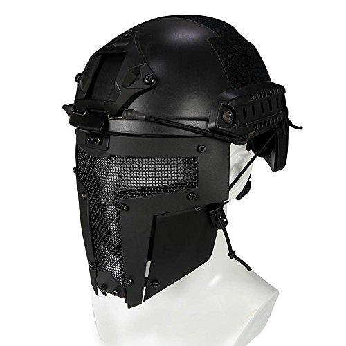 Waroomss Máscara facial táctica protectora Airsoft Máscara casco para casco de guerra militar al aire libre no incluido