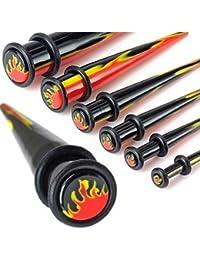 Urban Male Lot de Six Écarteurs Oreilles en Acrylique UV Flammes 3mm-10mm.