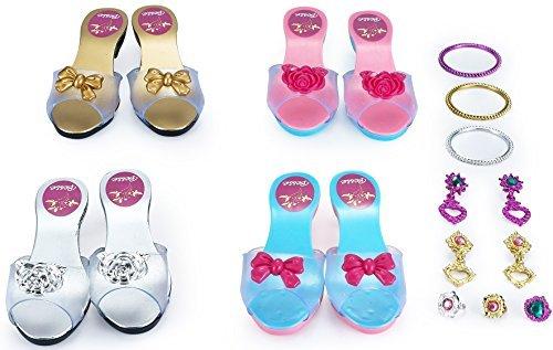 JaxoJoy Schuhe Und Schmuck Boutique - Kleine Mädchen Prinzessin Spielen Geschenk-Set Mit 4 Paar Schuhe- Empfohlen Ab 3 Jahre - Spielen Schmuck-set Mädchen