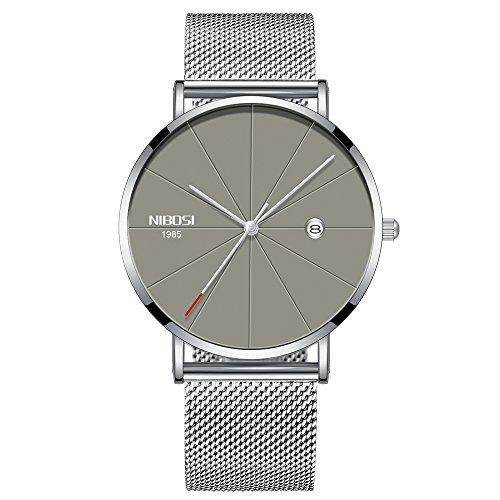 Herren Uhren, Herren-Armbanduhr mit Edelstahl Milanaise Armband Silber Grau