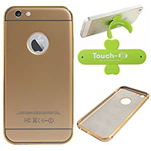 """DMG Metal Arc Frame with PU Leather Back Bumper Dual Protection Cover Case for Apple iPhone 6 (4.7"""") (Gold) + Touch U Mobile Stand"""